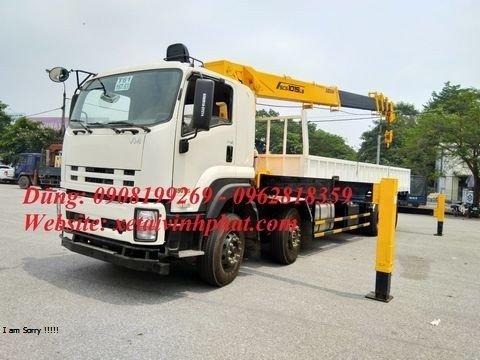 xe tải isuzu 4 chân gắn cẩu soosan 10 tấn